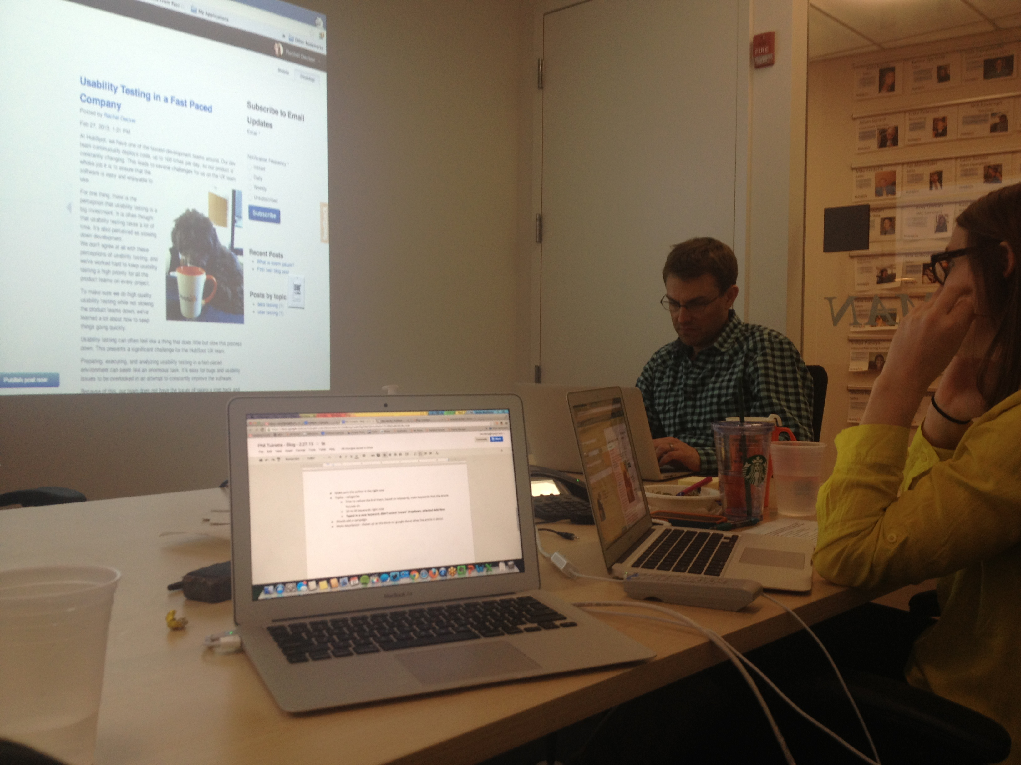 A usability testing session at HubSpot.