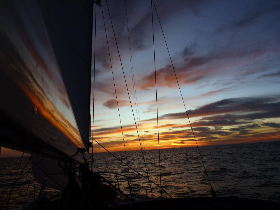 The sunset as seen from a boat off of the Canary Islands.