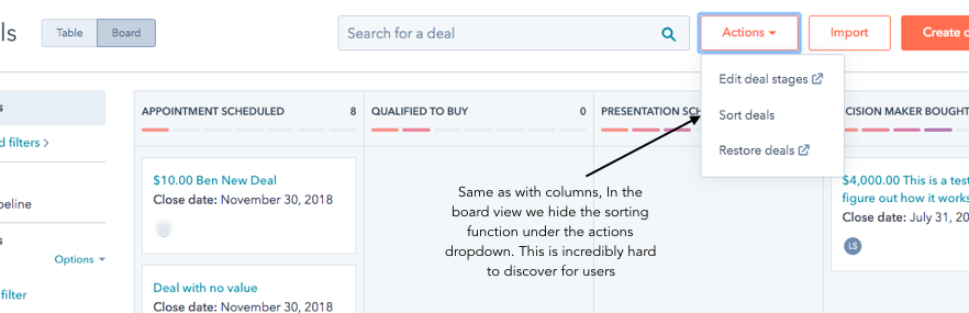 The same as with the columns. In the board view, we hide the sorting function under the actions dropdown. This is incredibly hard for users to discover.
