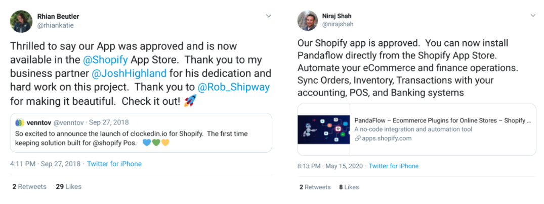 Tweets from creators of Shopify apps expressing excitement over their apps being approved