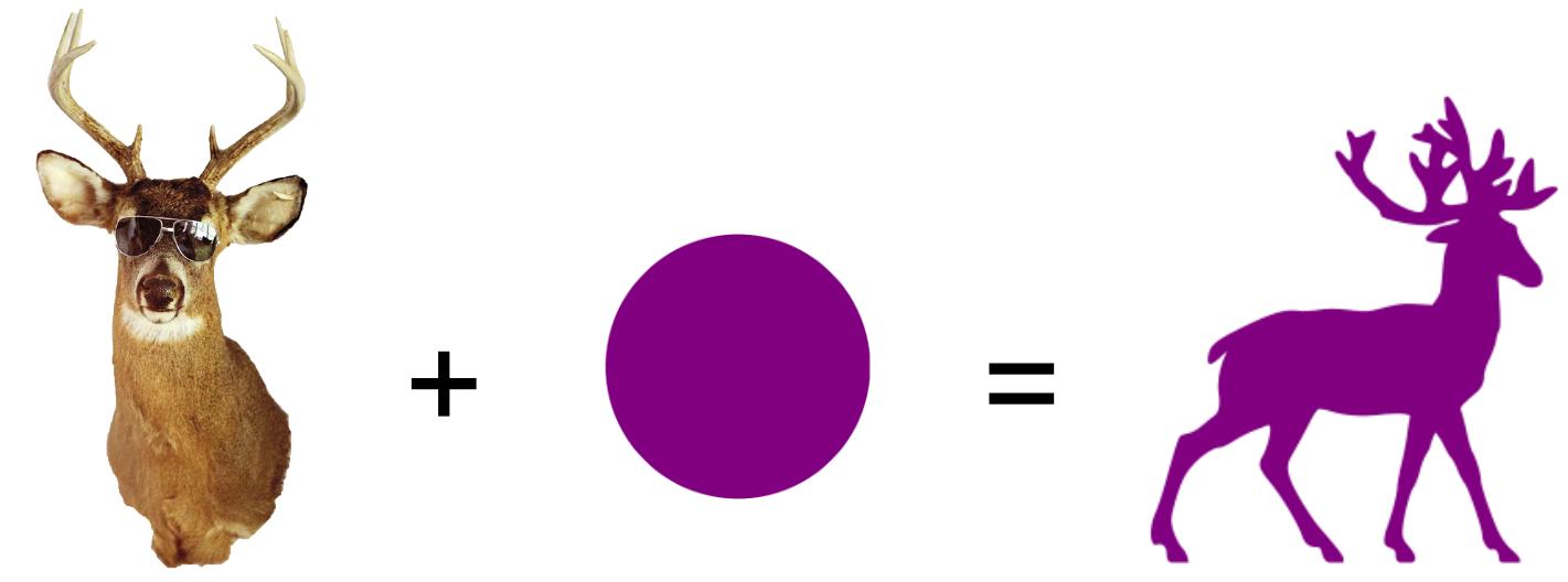 An illustration of a purple deer