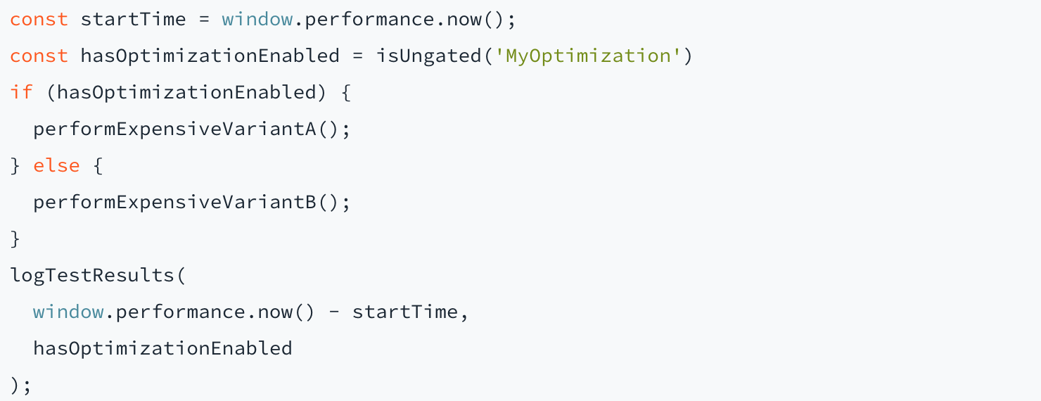A look at the code we use:  const startTime = window.performance.now(); const hasOptimizationEnabled = isUngated('MyOptimization') if (hasOptimizationEnabled) {   performExpensiveVariantA(); } else {   performExpensiveVariantB(); } logTestResults(   window.performance.now() - startTime,   hasOptimizationEnabled );