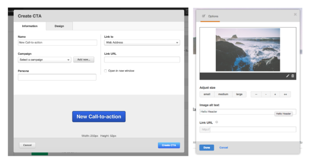 Two different modals in the HubSpot product before the redesign