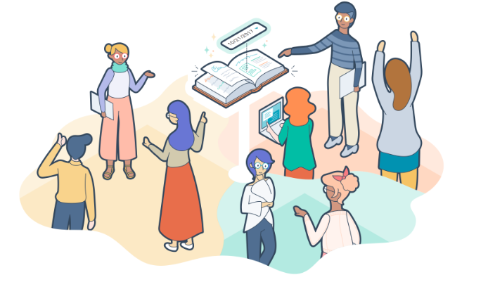 An illustration of the HubSpot team working together