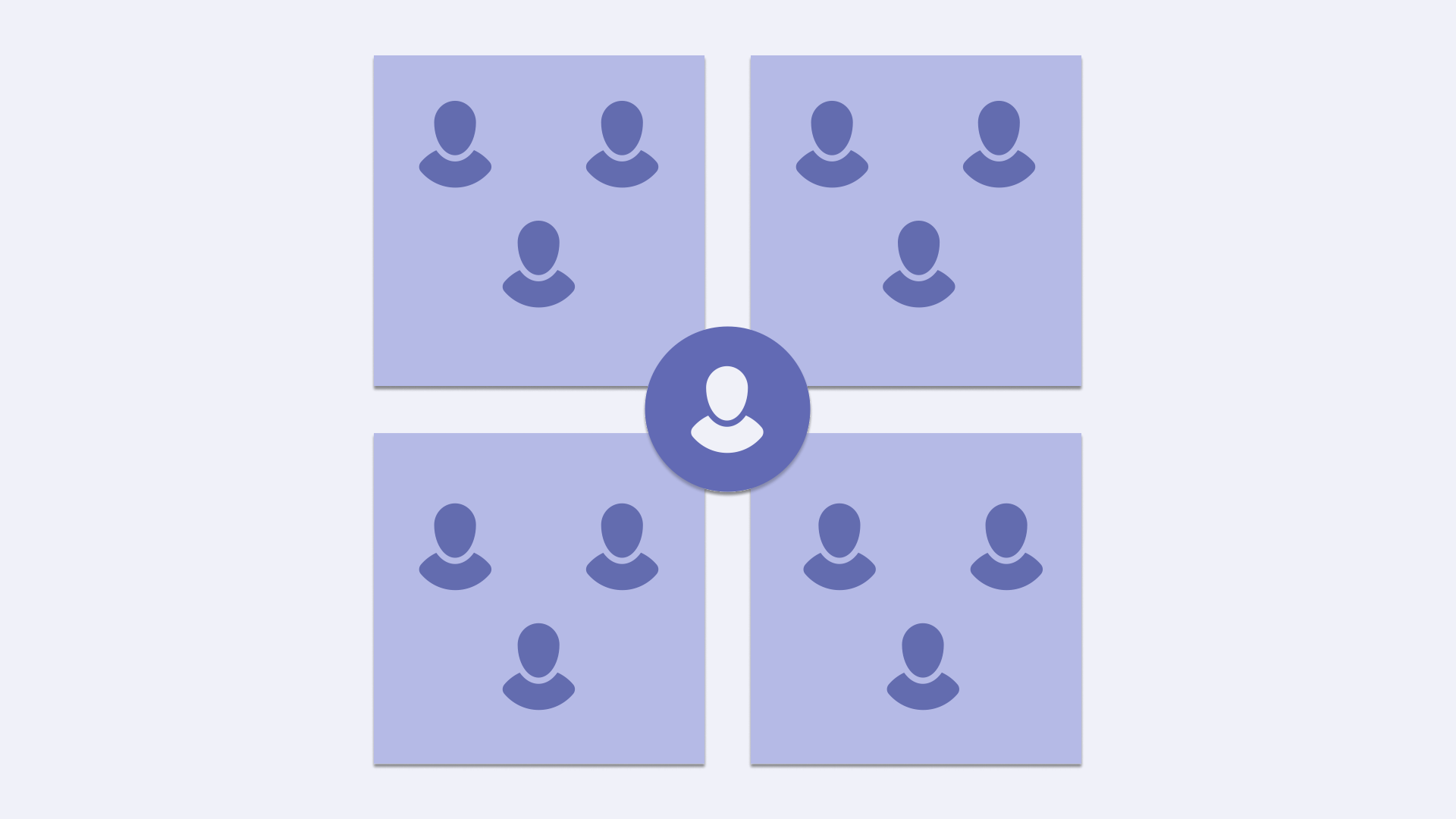 Illustration with icons of people organized into different teams