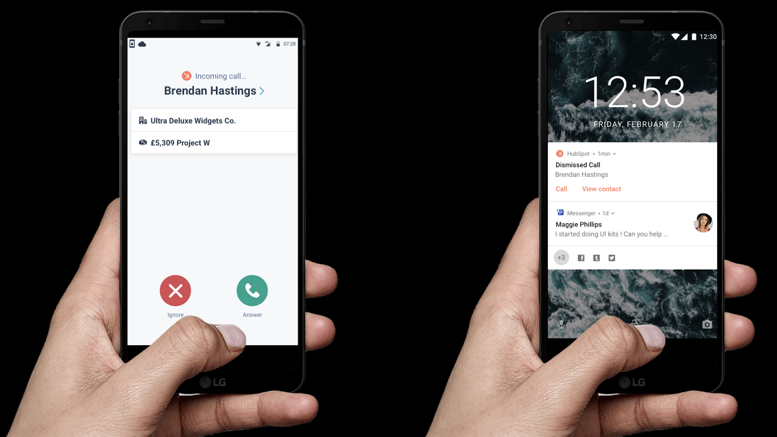 When a customer's using HubSpot CallerID and a contact calls them, a preview screen with the contact's name, company, and associated details appears on their phone screen as a preview